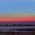 Evening in the Solent XXXV,I oil on board, 13 x 18 cm (1016)
