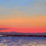 Sunrise in the Solent 8, oil on board, 13 x 18 cm (1738)