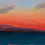Sunrise in the Solent 1 oil on board, 13 x 18 cm (1731)