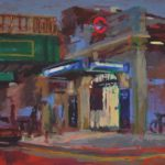 Ravenscourt Park Tube Station: at night oil on canvas, 30 x 41 cm (958)