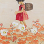 A Girl in the Field, Japanese paper, mineral pigments, chinese ink, 50x70cm
