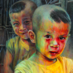 Shenzhen's Little Beings, oil on canvas 100x100cm, 2016