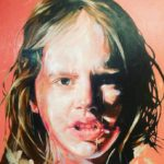 LV mixed permanent red flesh tinted oil on canvas, 120 x 95cm