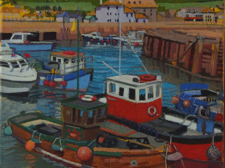 Boats at High tide, West Bay Oil on Canvas Lucy Erskine